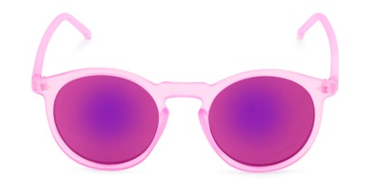 Front of Hoffman #9728 in Frosted Pink Frame with Pink Mirrored Lenses