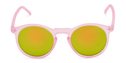 Front of Hoffman #9728 in Frosted Light Pink Frame with Yellow/Green Mirrored Lenses