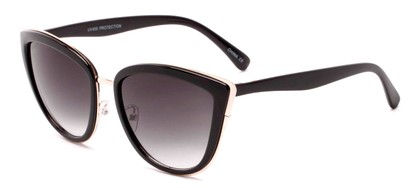 Angle of Honey #6040 in Glossy Black/Gold Frame with Grey Lenses, Women's Cat Eye Sunglasses