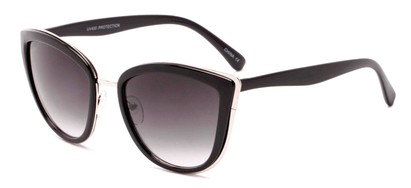 Angle of Honey #6040 in Glossy Black/Silver Frame with Grey Lenses, Women's Cat Eye Sunglasses