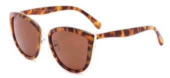 Angle of Honey #6040 in Light Tortoise Frame with Amber Lenses, Women's Cat Eye Sunglasses