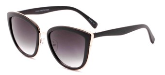 Angle of Honey #6040 in Matte Black/Gold Frame with Grey Lenses, Women's Cat Eye Sunglasses