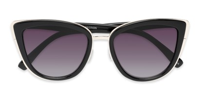 Folded of Honey #6040 in Glossy Black/Silver Frame with Grey Lenses