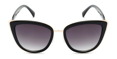 Front of Honey #6040 in Glossy Black/Gold Frame with Grey Lenses