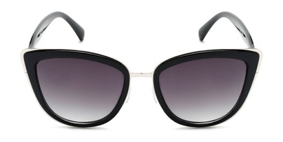 Front of Honey #6040 in Glossy Black/Silver Frame with Grey Lenses