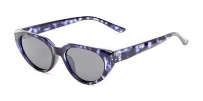 Angle of Honolulu #1637 in Blue Tortoise Frame with Smoke Lenses, Women's Cat Eye Sunglasses