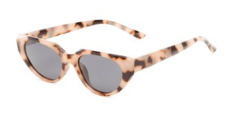 Angle of Honolulu #1637 in Tan Tortoise Frame with Smoke Lenses, Women's Cat Eye Sunglasses