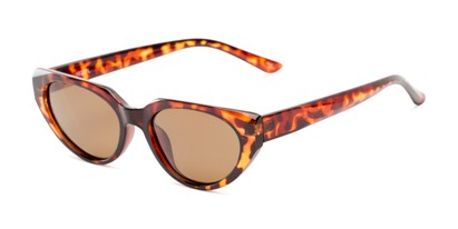 Angle of Honolulu #1637 in Brown Tortoise Frame with Amber Lenses, Women's Cat Eye Sunglasses