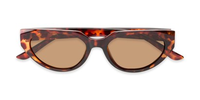 Folded of Honolulu #1637 in Brown Tortoise Frame with Amber Lenses