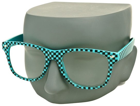 Teal Checkered Retro Sunglasses