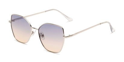 Angle of Indigo #6911 in Silver Frame with Blue Gradient Lenses, Women's Cat Eye Sunglasses