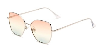 Angle of Indigo #6911 in Silver Frame with Orange Gradient Lenses, Women's Cat Eye Sunglasses