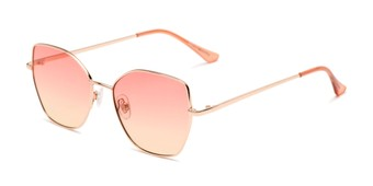 Angle of Indigo #6911 in Gold Frame with Pink/Yellow Gradient Lenses, Women's Cat Eye Sunglasses