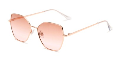 Angle of Indigo #6911 in Gold Frame with Pink Fade Gradient Lenses, Women's Cat Eye Sunglasses