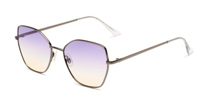 Angle of Indigo #6911 in Grey Frame with Purple Gradient Lenses, Women's Cat Eye Sunglasses