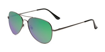 Angle of Island #1510 in Grey Frame with Green/Pink Gradient Mirror Lenses, Women's and Men's Aviator Sunglasses
