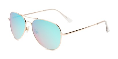Angle of Island #1510 in Gold Frame with Blue/Pink Gradient Mirror Lenses, Women's and Men's Aviator Sunglasses