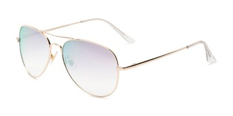 Angle of Island #1510 in Gold Frame with Pink/Silver Gradient Mirror Lenses, Women's and Men's Aviator Sunglasses