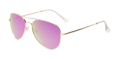 Angle of Island #1510 in Gold Frame with Purple/Green Gradient Mirror Lenses, Women's and Men's Aviator Sunglasses