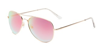 Angle of Island #1510 in Gold Frame with Pink/Blue Gradient Mirror Lenses, Women's and Men's Aviator Sunglasses