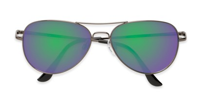 Folded of Island #1510 in Grey Frame with Green/Pink Gradient Mirror Lenses