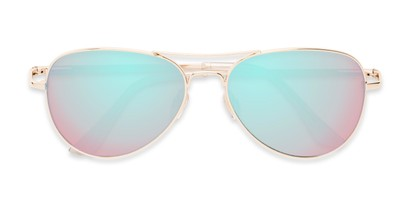 Folded of Island #1510 in Gold Frame with Blue/Pink Gradient Mirror Lenses