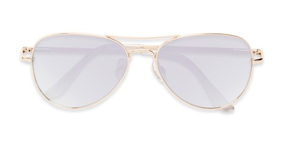 Folded of Island #1510 in Gold Frame with Pink/Silver Gradient Mirror Lenses