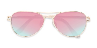 Folded of Island #1510 in Gold Frame with Pink/Blue Gradient Mirror Lenses