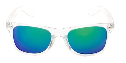 Front of Jackson in Clear Frame with Blue/Green Mirrored Lenses