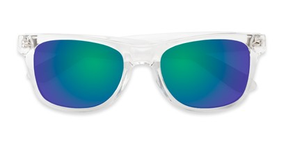 Folded of Jackson in Clear Frame with Blue/Green Mirrored Lenses