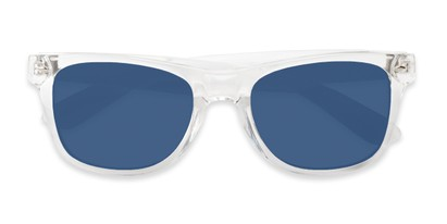 Folded of Jackson in Clear Frame with Blue/Grey Mirrored Lenses