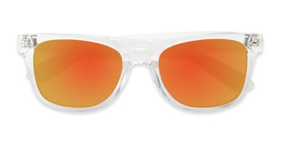 Folded of Jackson in Clear Frame with Red/Orange Mirrored Lenses