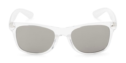 Front of Jackson in Clear Frame with Silver Mirrored Lenses
