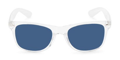 Front of Jackson in Clear Frame with Blue/Grey Mirrored Lenses
