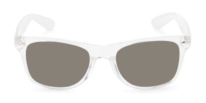 Front of Jackson in Clear Frame with Grey/Gold Mirrored Lenses