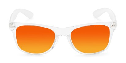 Front of Jackson in Clear Frame with Yellow/Orange Mirrored Lenses