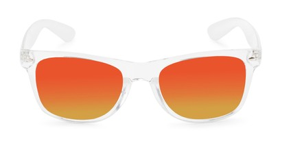 Front of Jackson in Clear Frame with Red/Orange Mirrored Lenses