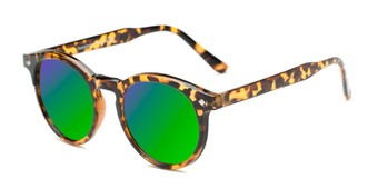 Angle of Jagger #2024 in Tortoise Frame with Neon Green Lenses, Women's and Men's Round Sunglasses