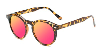 Angle of Jagger #2024 in Tortoise Frame with Electric Pink Lenses, Women's and Men's Round Sunglasses