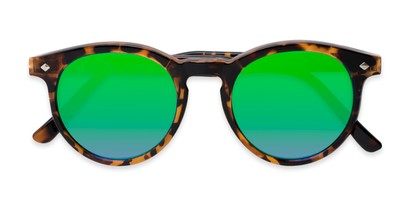 Folded of Jagger #2024 in Tortoise Frame with Neon Green Lenses