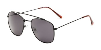 Angle of James #4372 in Black Frame with Smoke Lenses, Women's and Men's Aviator Sunglasses