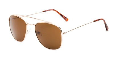 Angle of James #4372 in Gold Frame with Amber Lenses, Women's and Men's Aviator Sunglasses