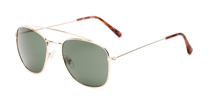 Angle of James #4372 in Gold Frame with Green Lenses, Women's and Men's Aviator Sunglasses