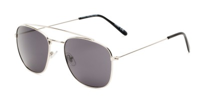 Angle of James #4372 in Silver Frame with Smoke Lenses, Women's and Men's Aviator Sunglasses