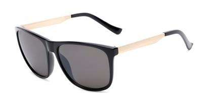 Angle of Jameson #54100 in Glossy Black Frame with Grey Lenses, Men's Square Sunglasses