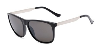 Angle of Jameson #54100 in Matte Black Frame with Grey Lenses, Men's Square Sunglasses