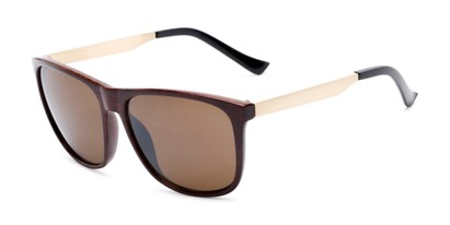 Angle of Jameson #54100 in Glossy Faux Wood Frame with Amber Lenses, Men's Square Sunglasses