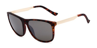 Angle of Jameson #54100 in Matte Tortoise Frame with Grey Lenses, Men's Square Sunglasses