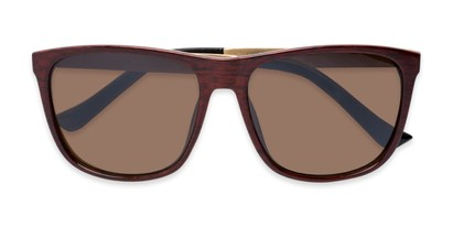 Folded of Jameson #54100 in Glossy Faux Wood Frame with Amber Lenses