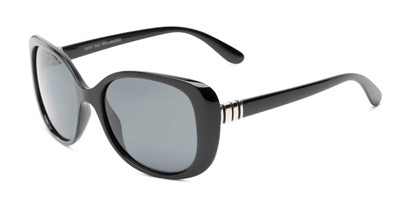 Angle of Jasmine #3446 in Black Frame with Smoke Lenses, Women's Square Sunglasses